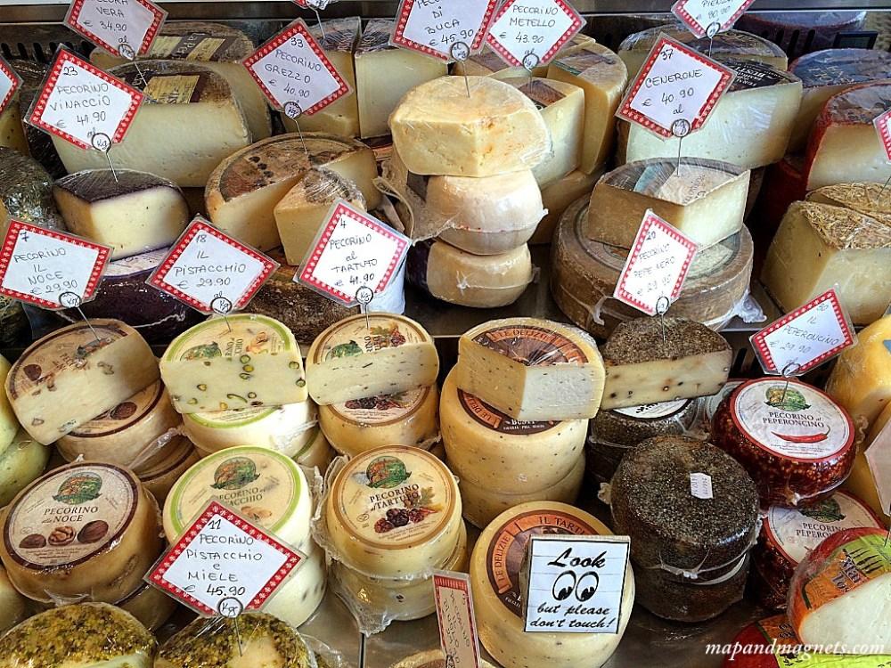 Pecorino cheeses at enoteca in Florence