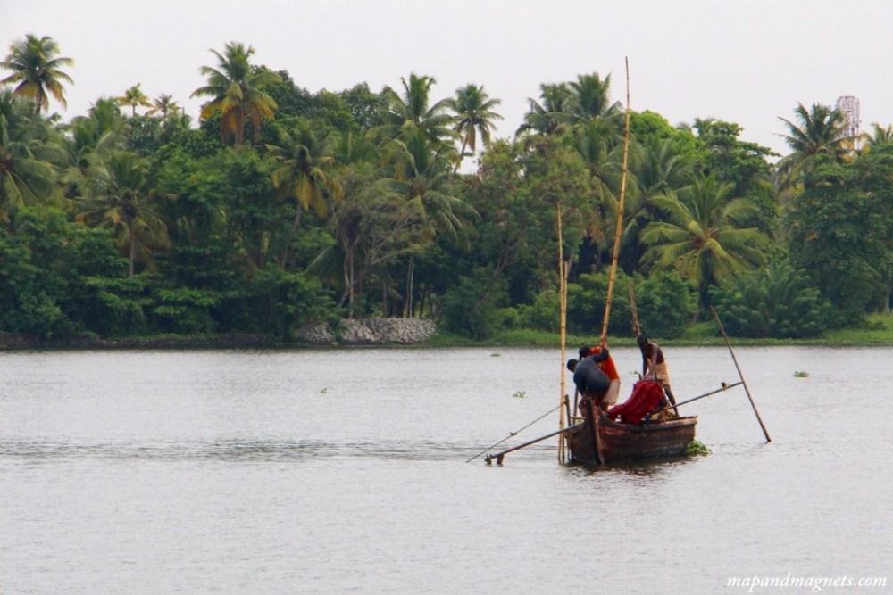 Kerala backwaters working boat