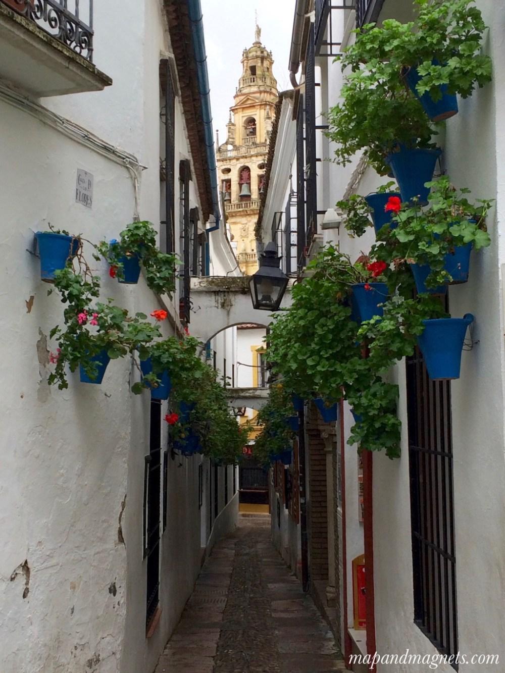 Cordoba streets with Mezquita view