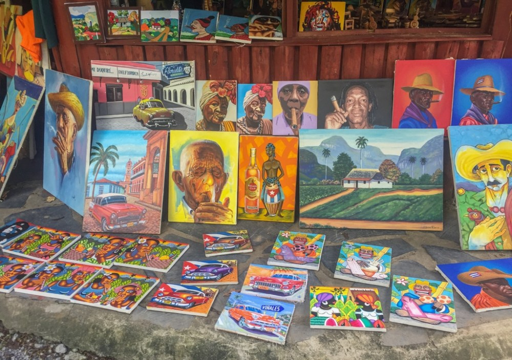 Souvenir store selling paintings in Havana Cuba