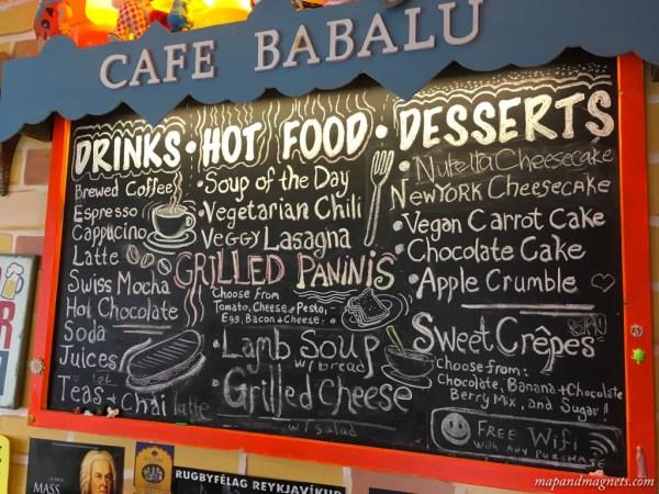 Menu at Cafe Babalu