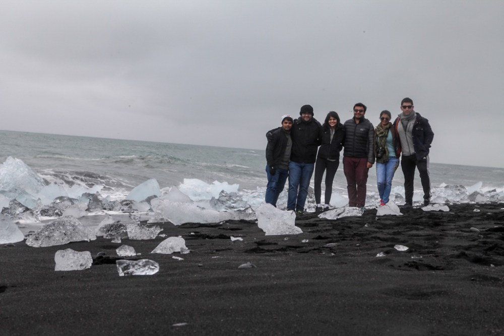 Group photo at Diamond Beach in Iceland
