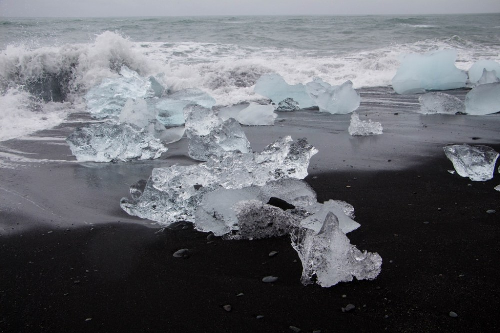 Ice chunks at Diamond Beach in Iceland