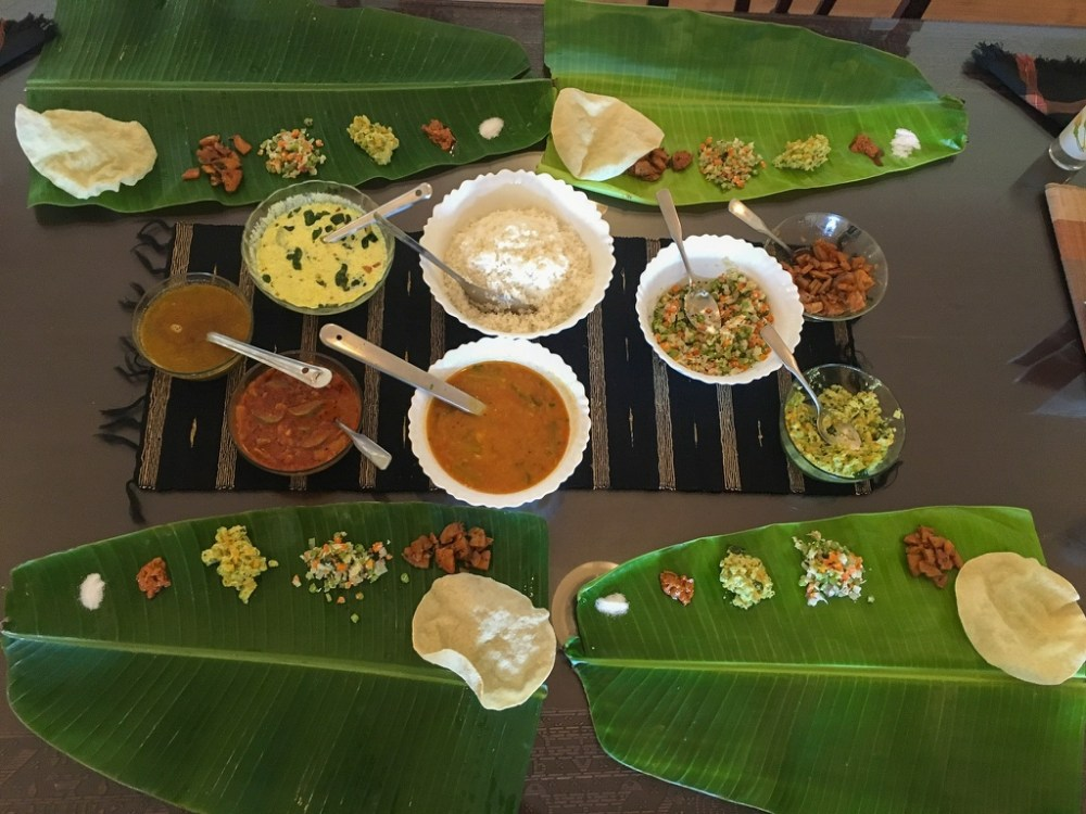 South Indian lunch on banana leaf in Nilgiris
