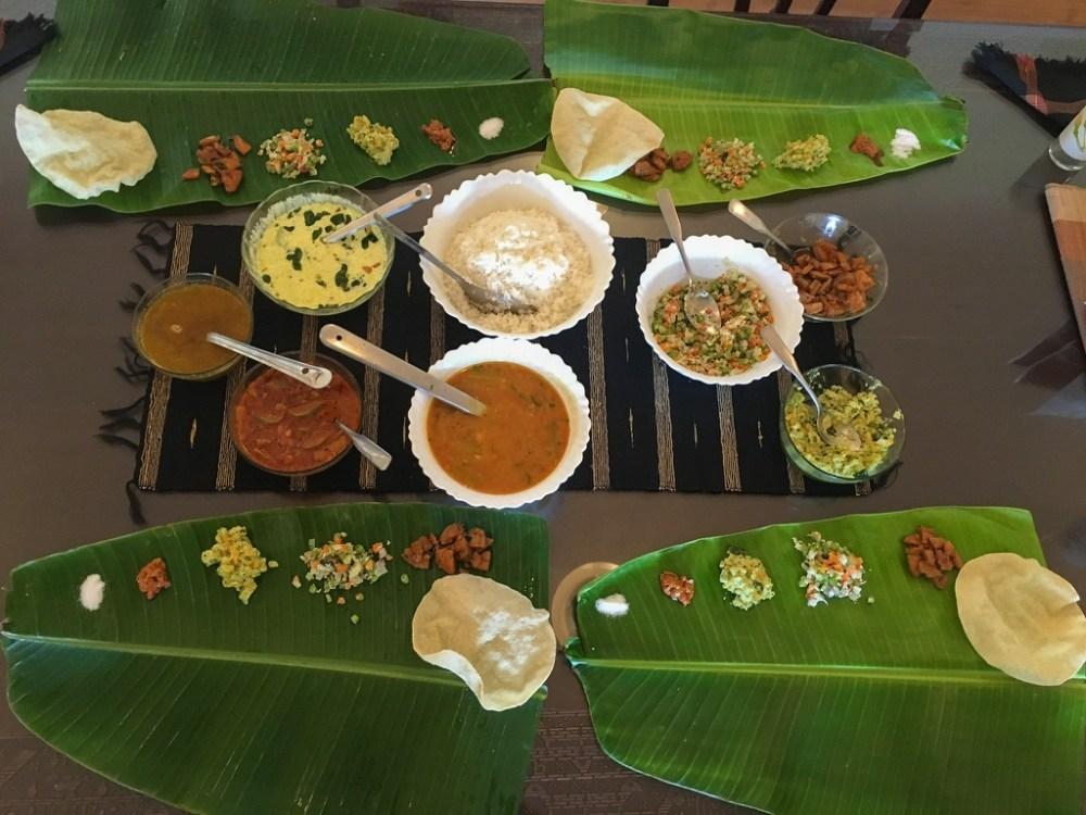 South Indian lunch on banana leaf in Nilgiris