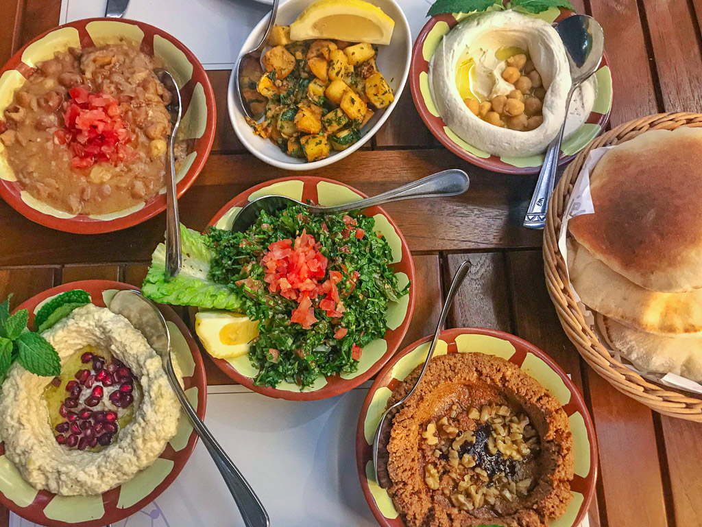 Vegetarian Middle Eastern feast