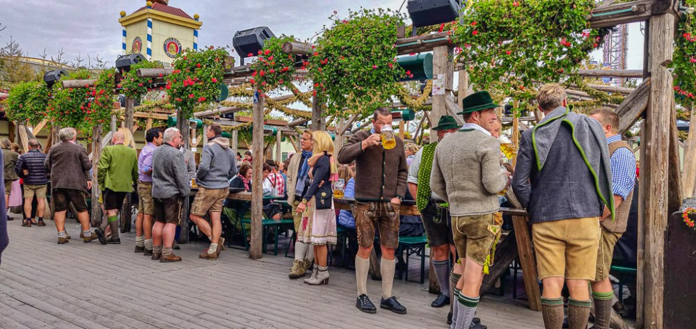 Traditional German outfits in Oktoberfest tents