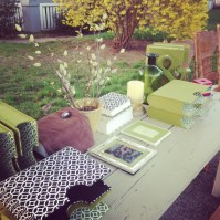 The Pottery Barn table at our yard sale