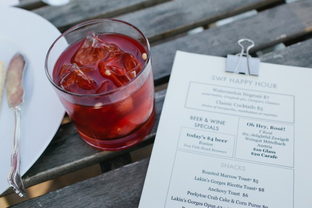 Watermelon Negroni at Salt Water Farm