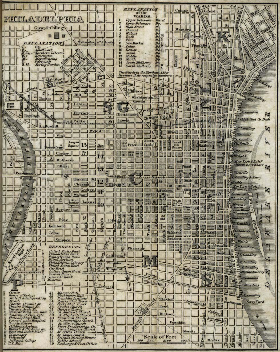 West philadelphiahamlet in north carolina, united states. Maps Of Philadelphia City Map Pennsylvania United States 1842 Mapa Owje Com