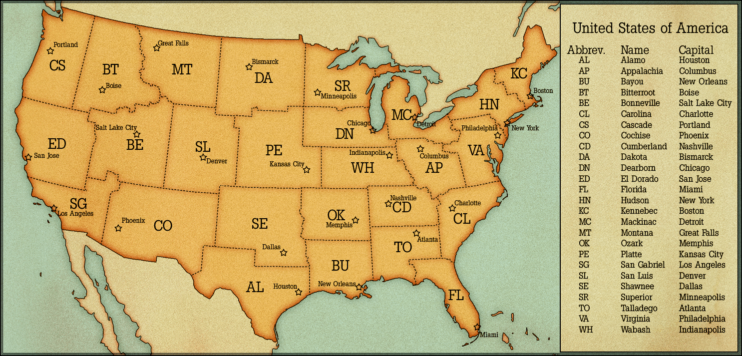 Map Of U S A With State And City Names Cities Within Us State