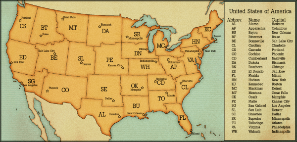USA States and Capitals by AlternateHistorycom Map