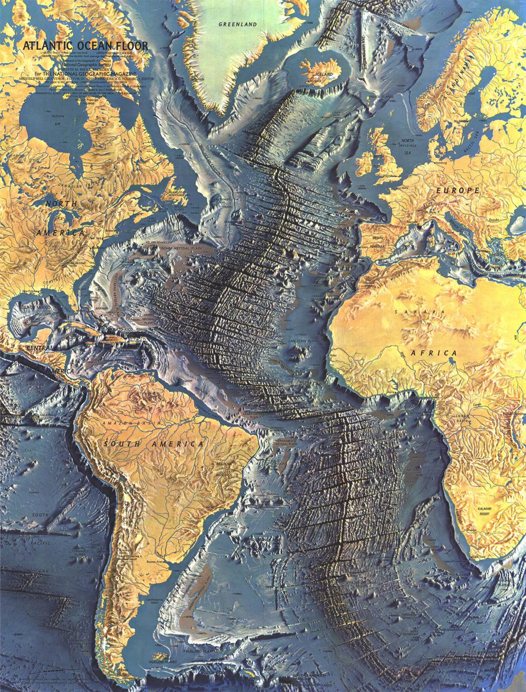 Mapcarte 78 365 Atlantic Ocean Floor By Heinrich Berann