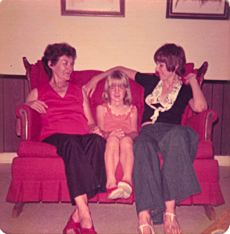 grandma, me, and mom