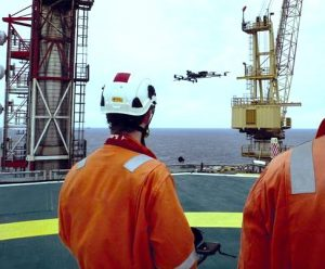 Inspection of an oil rig using drones
