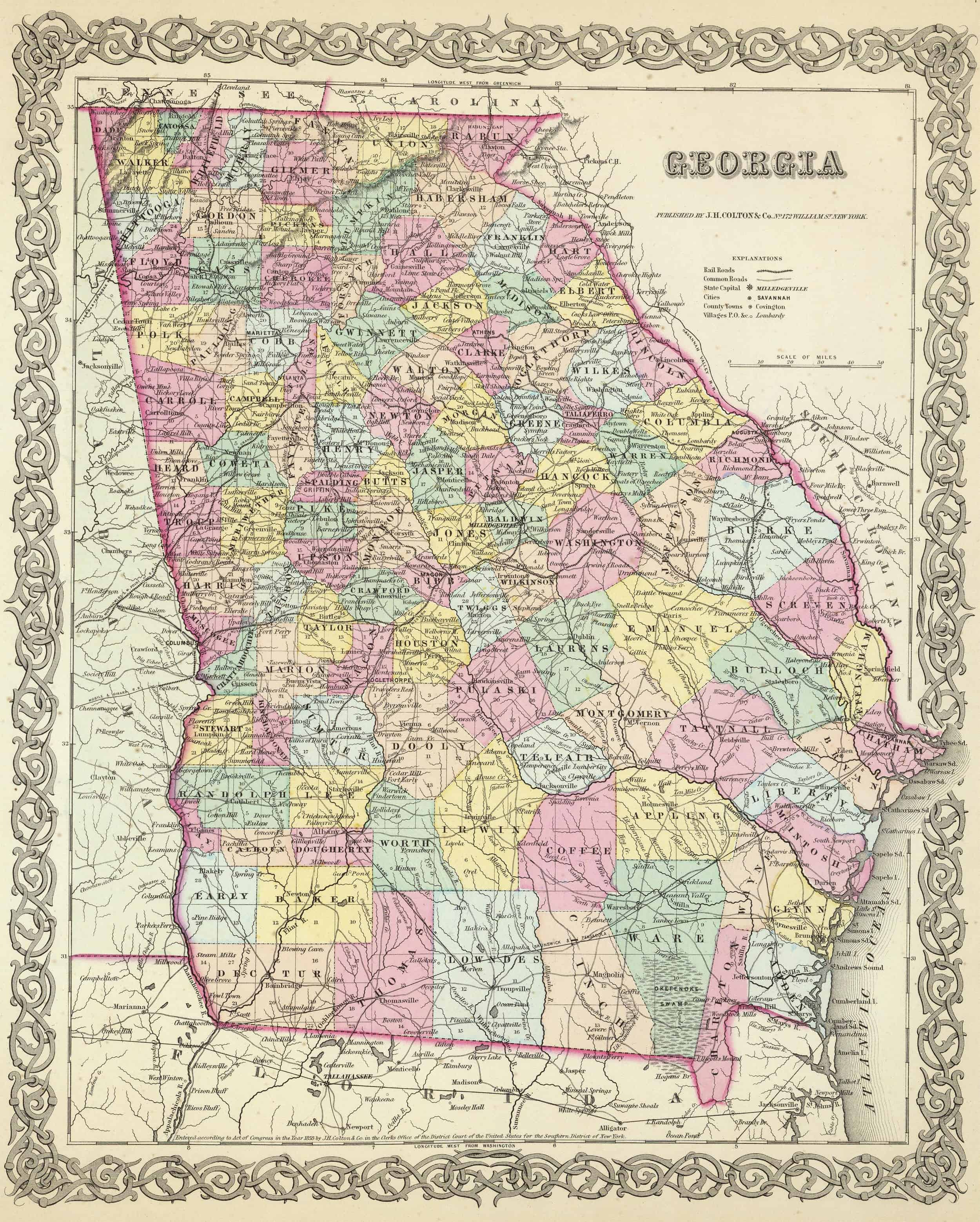 Old Historical City County And State Maps Of Georgia