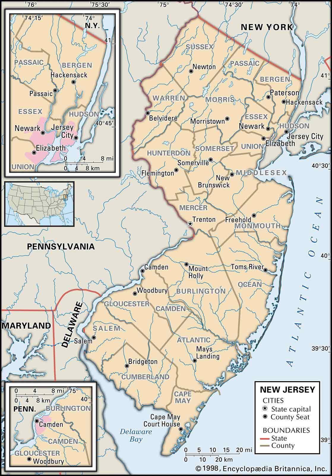 Maps Of Monmouth County Nj : monmouth, county, Historical, City,, County, State, Jersey