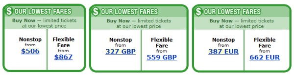 Left to right: Prices on the U.S., British and French website of United Airlines.
