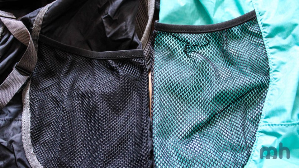 The pouch lengths of the Zip (left) and Stuff (right) compared.
