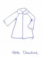 dessin de la veste Claudine de la collection de mapie des vignes