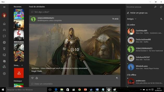 Materia Xbox app print app logado