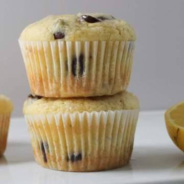 Lemon Chocolate Chip Muffins - On White Tray