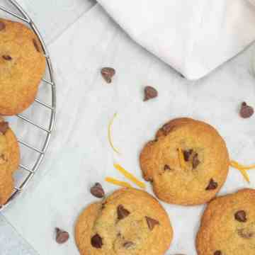 Orange Chocolate Chip Cookies on a cooling rack