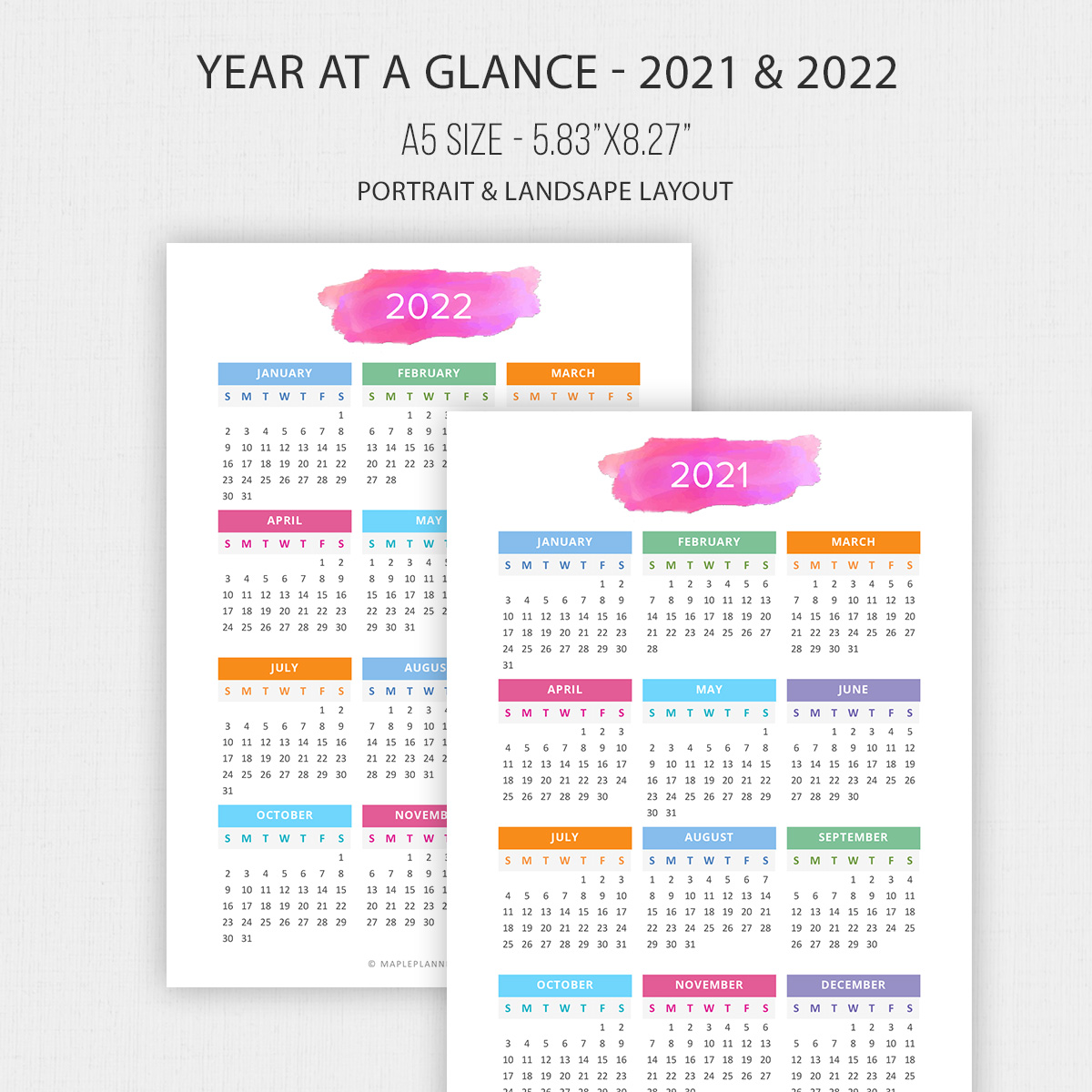 2021 - 2022 Year at a Glance in A5 Size   Yearly Calendar ...