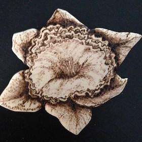 Pyrography daffodil