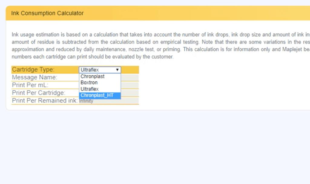 Hx Manager Ink Consumption Calculator