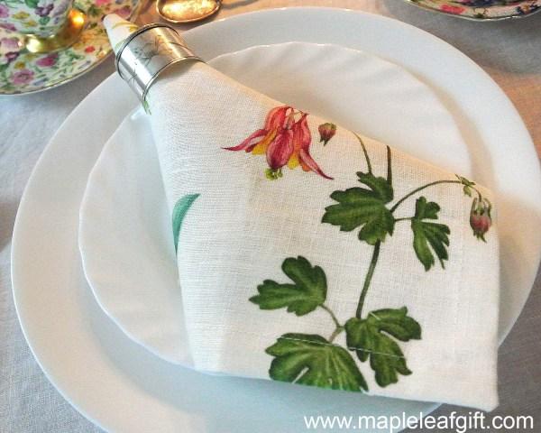 Napkins Linen Botanical Wild Flowers of Ontario Canada