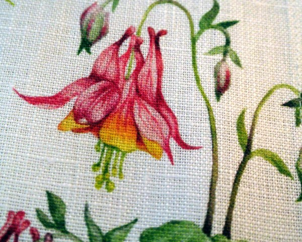 Wild Columbine Print on Linen Napkin detail