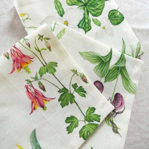 Set of Linen Napkins Feature Wild Flowers of North America