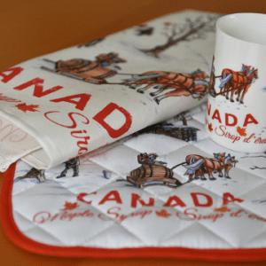 Canada Gift Set linen towel potholder mug Maple Syrup design