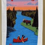 Canada Gift Linen Tea Towel Summer red canoe moose forest sunset