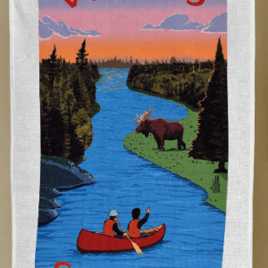 Canada Gift Linen Tea Towel Summer red canoe moose forest sunset