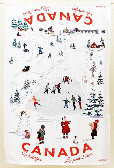 Canada Gift Winter Fun Tea Towel Hockey Skating Snowman