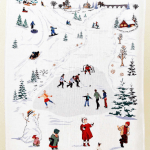 Canada Gift Winter Fun Tea Towel Hockey Skating Snowman