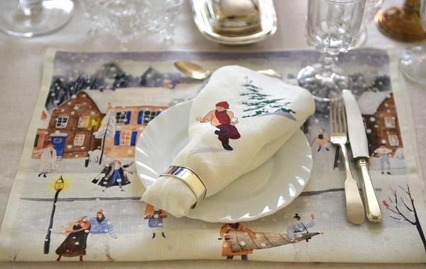 Linen Dinner Napkins Christmas Celebration table setting