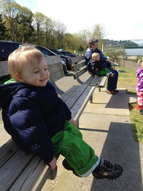 Watching the trains at Carkeek Park.