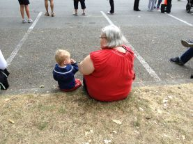 Jamie and Grandma ready to cheer on Daddy at his triathlon.