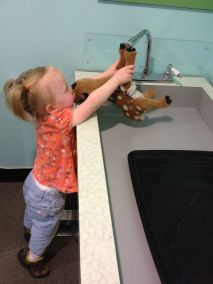 Helping the deer wash its hands, in the vet room at the Imaginarium.