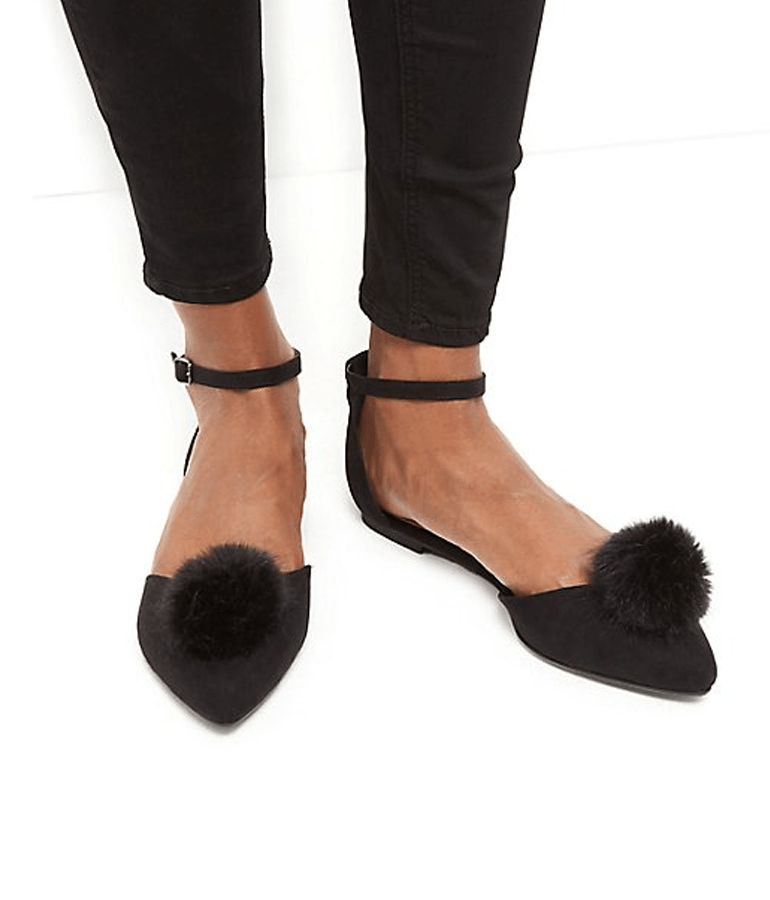 Black Pom Pom Two Part Shoes. De venta en NEW LOOK