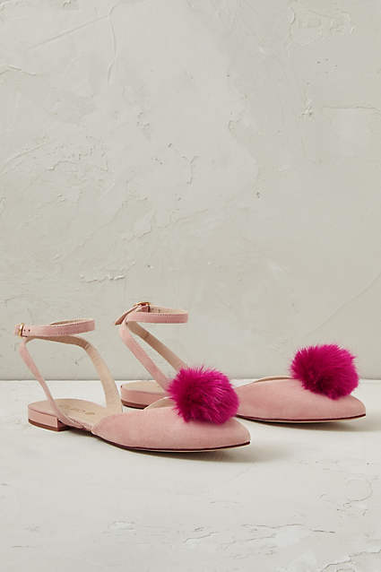 Blushed Rose Pom Pom Sandals