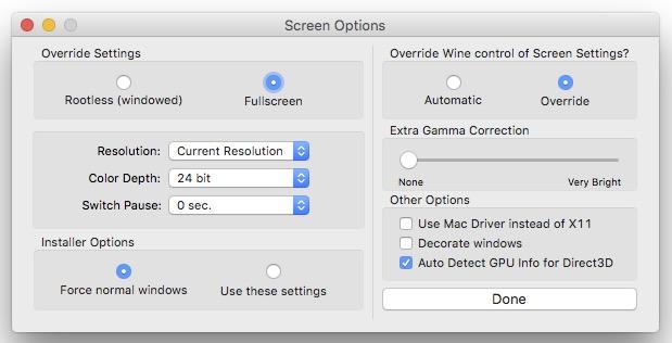 3. 在左上角的 Override Settings 裡面,選擇「Fullscreen」後,按下右下角「Done」完成。