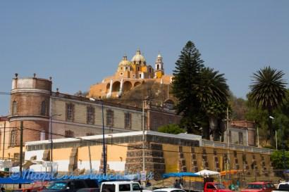 Cholula church on the top of a mountain.