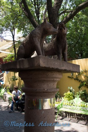 Two wolves statues