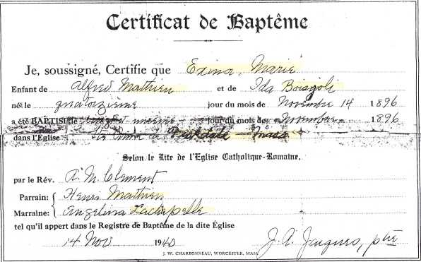 Baptism Certificate, Exina Mathieu, St. Anne's Church, Fiskdale, MA, 21 Nov 1896