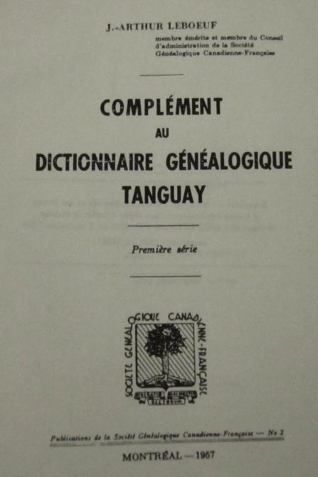Complément au Dictionnaire Généalogique Tanguay title page