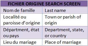 Fichier search screen